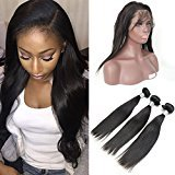 Vogue Queen Pre Plucked 360 Lace Band Frontal with Bundles 3 Pcs Brazilian Unprocessed Straight Virgin Human Hair with Front Closure (16 16 16 Frontal 14, Straight,3 Bundles with Frontal)