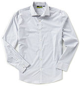 Murano Performance Slim-Fit Spread Collar Grid Long-Sleeve Sportshirt