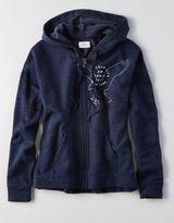American Eagle AEO Fleece Zip-Up Hooded Sweatshirt