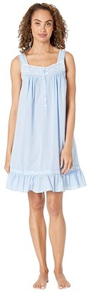 Eileen West Cotton Chambray Yarn-Dye Woven Sleeveless Short Nightgown (Peri Chambray/White Floral Embroidery) Women's Clothing