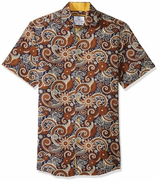 Azaro Uomo Men's Short Sleeve Button Down Shirt Casual Dress Loud Slim Fit