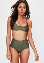 Missguided Khaki Sporty Cross Back Bikini Top - Mix & Match