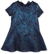Oscar de la Renta Jacquard Bow-Back Dress, Navy, Size 4-10