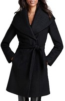 Black Belted Wool Coat - ShopStyle UK