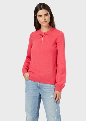 Emporio Armani Pure Cashmere Sweater With Keyhole And Knot Details