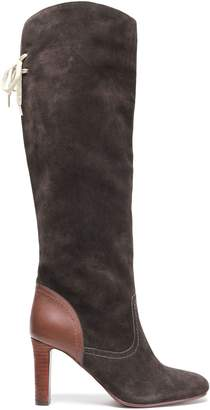 See by Chloe Lara Lace-up Leather-paneled Suede Knee Boots
