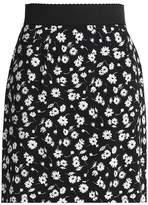 Dolce & Gabbana Floral-Print Crepe Mini Skirt