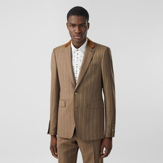 Burberry Classic Fit Velvet Trim Wool Cashmere Tailored Jacket