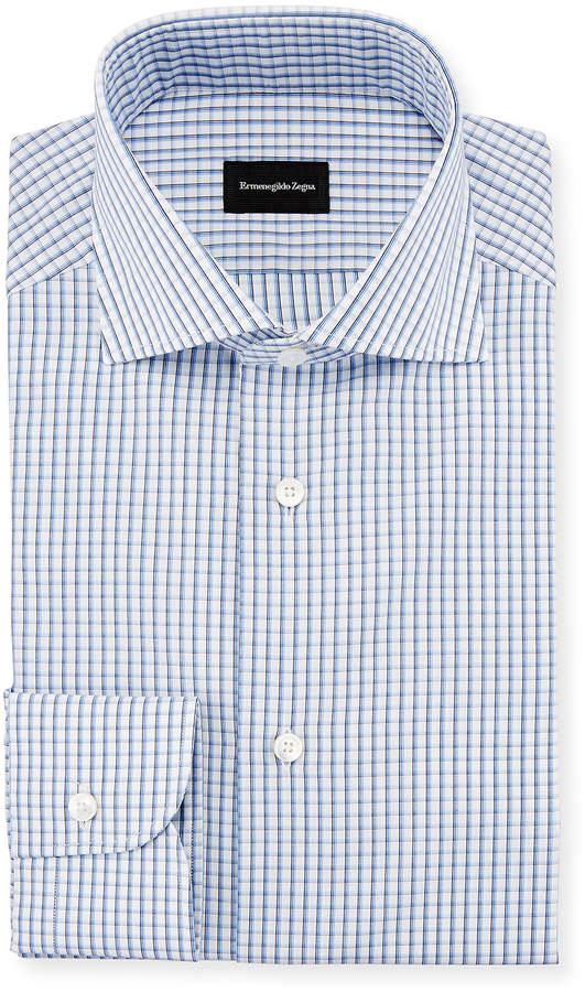 Ermenegildo Zegna Three-Line Check Dress Shirt