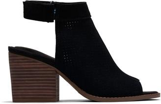Toms Black Perforated Suede Women's Grenada Sandals