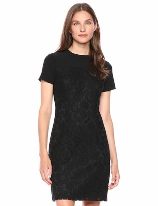 Lark & Ro Short Sleeve Lace Mixed Dress Black 14