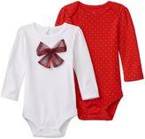 Baby Starters Baby Girl 2-pk. Bow & Polka-Dot Bodysuits