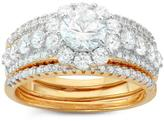 Ice Tiara 1 5/9 CT TW Cubic Zirconia Yellow Gold-Plated Sterling Silver Bridal Set