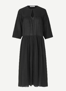 Samsoe & Samsoe Black Karol Midi Dress - XS .