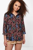 Boohoo Plus Rachel Paisley Print Oversized Shirt black