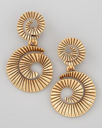 Oscar de la Renta Gold-Plate Spiral Earrings