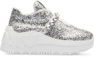 Miu Miu glitter-embellished platform sneakers