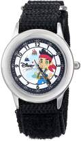 Disney Kids' W000384 Jake Stainless Steel Time Teacher Black Velcro Strap Watch