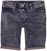 River Island Pink And Blue Acid Wash Skinny Denim Shorts