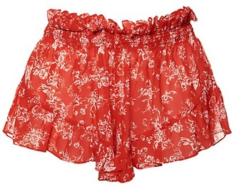 Caroline Constas Floral-Print Ruffled Shorts