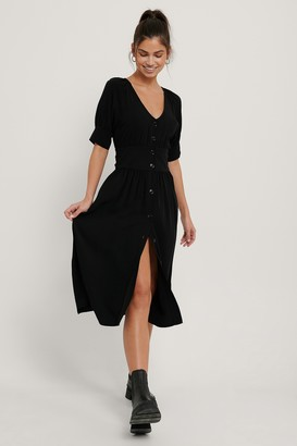 NA-KD Tie Waist Buttoned Midi Dress