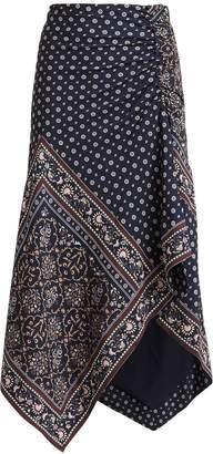 Jonathan Simkhai Scarf Print Crepe Midi Skirt