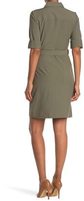 Sharagano 4 Pocket Zipper Shirt Dress