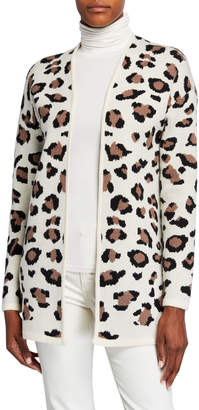 Neiman Marcus Long-Sleeve Leopard Cardigan