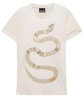 Just Cavalli Embellished Cotton-jersey T-shirt