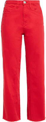 Maje Pamier Cropped High-rise Wide-leg Jeans