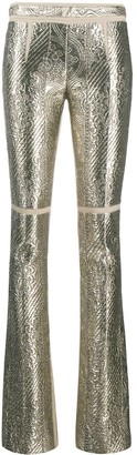 Gianfranco Ferré Pre Owned 1990s Embossed Metallic Bootcut Trousers