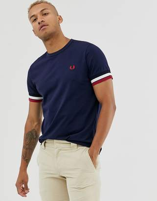 Fred Perry t-shirt with tipped rib cuff in navy