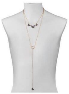 Noir Layered Multi-Colored Butterfly Necklace