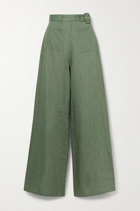 Miguelina Rita Belted Linen Wide-leg Pants - Green