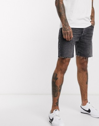 Levi's 501 93 straight raw hem denim shorts in antipasto black wash