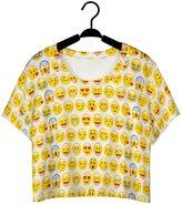 Raisevern Women's Multi Emoji Face Printed Crop Tops Fashion Casual Short Sleeve T shirts Tank Tops