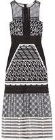 Jonathan Simkhai Pointelle-trimmed Embroidered Organza Midi Dress - Black