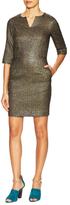 Suno Metallic 3/4 Sleeve Sheath Dress