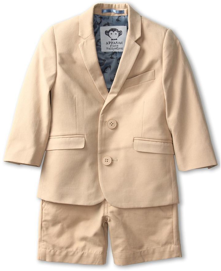 Appaman Kids - Boys' Mod Suit Jacket Short Set (Toddler/Little Kids/Big Kids) (Khaki) - Apparel