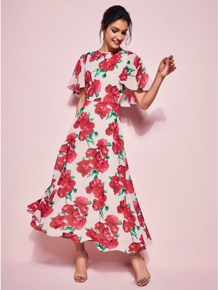 M&Co GLAMOUR rose cape midi dress