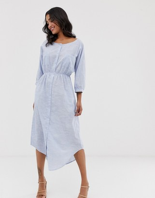 Y.A.S crew neck chambray maxi shirt dress-Blue