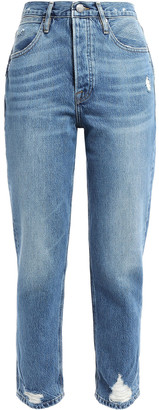Frame Le Pegged Cropped Distressed High-rise Straight-leg Jeans