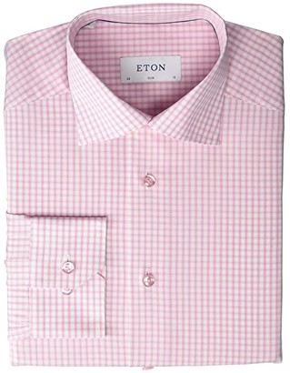 Eton Slim Fit Check Button-Down (Pink) Men's Clothing