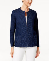 Alfred Dunner Petite Embellished Denim Jacket