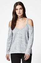 La Hearts Hacci Knit Cold Shoulder Top