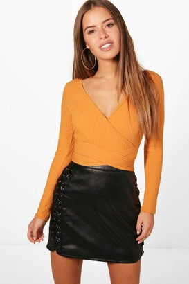 boohoo Petite Knitted Wrap one piece