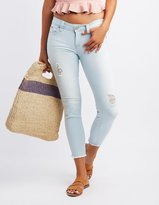 Charlotte Russe Push-Up Destroyed Crop Skinny Jeans
