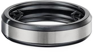 David Yurman Men's 6mm Beveled Band Ring in Black & Gray Titanium