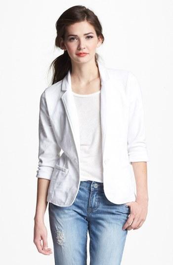 Caslon Roll Sleeve Knit Blazer (Petite) Medium