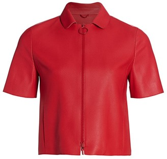 Akris Punto Short-Sleeve Perforated Leather Zip Jacket